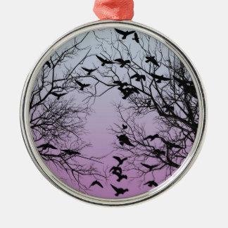 Krähenmenge Silbernes Ornament