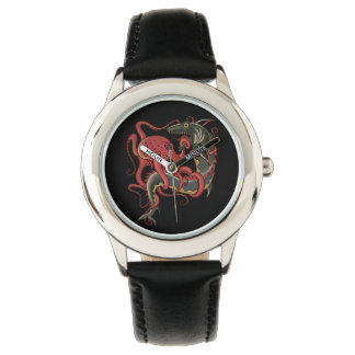 Krake, die einen Haifisch kämpft Armbanduhr
