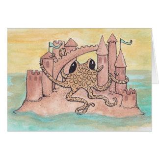 Krake u. Sandcastle Grußkarte