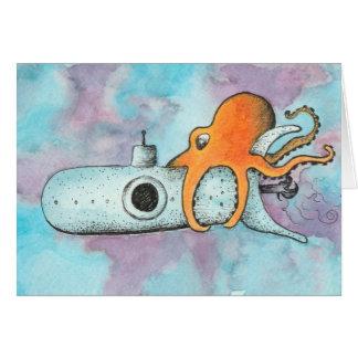 Krake u. Unterseeboot Grußkarte