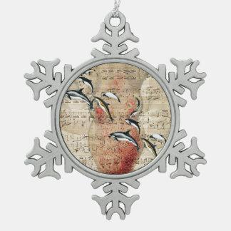 Krake und Delphin-Collage Schneeflocken Zinn-Ornament