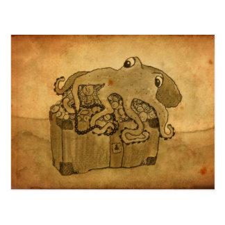 Krake und Schatztruhe Postkarten
