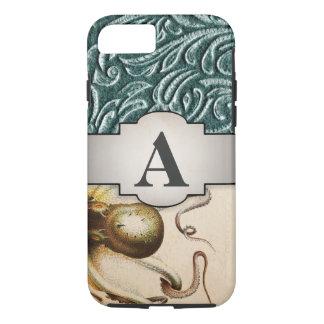 Kraken-Anfangsschatten von grünem Vintagem iPhone 8/7 Hülle