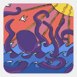 Kraken-Aufkleber Quadratischer Aufkleber