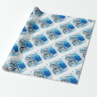 Kraken-Blau-Karte Geschenkpapier