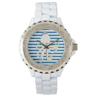 Kraken-blauer und weißer horizontaler Streifen Uhren