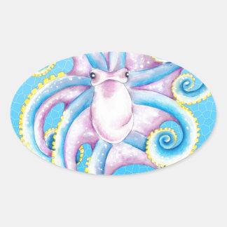 Kraken-Buntglas Ovaler Aufkleber