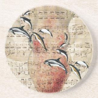 Kraken-Delphin-Collage Getränkeuntersetzer