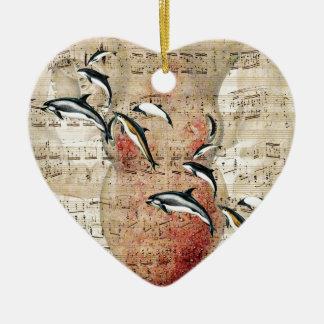 Kraken-Delphin-Collage Keramik Ornament