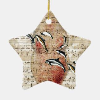 Kraken-Delphin-Collage Keramik Stern-Ornament