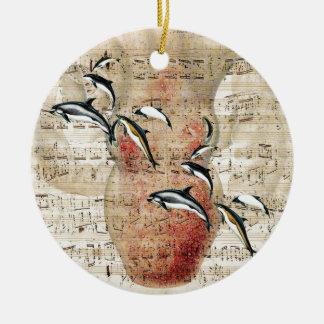Kraken-Delphin-Collage Rundes Keramik Ornament