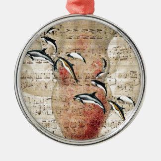 Kraken-Delphin-Collage Silbernes Ornament