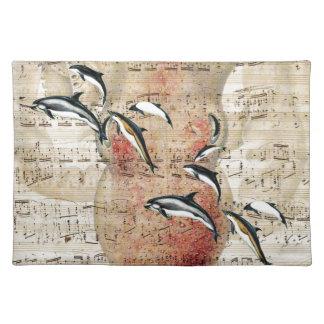 Kraken-Delphin-Collage Stofftischset