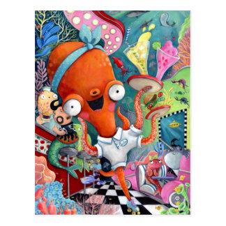 Kraken-Kellnerin im Unterwasserstraßen-Bar Postkarte