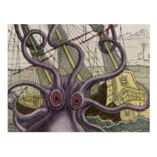 Kraken/Krake Eatting ein Piraten-Schiff, Farbe Postkarte
