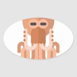 Kraken-Primitiv-Art Ovaler Aufkleber