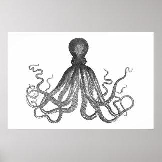Kraken - schwarze riesige Krake/Cthulu Posterdruck