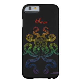 Kraken-Seekunst-Regenbogen-Stolz-Schwarz-Name Barely There iPhone 6 Hülle