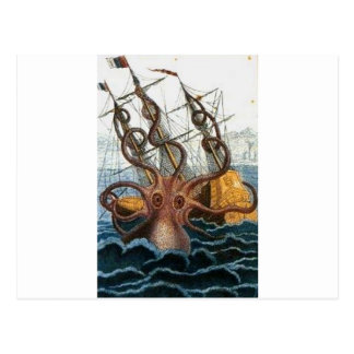 Kraken Steampunk Krake Vintag Postkarte