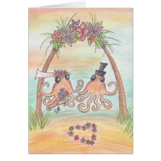 Kraken-Strand-Hochzeits-Karte Grußkarte