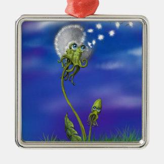 Kraken-Träume Quadratisches Silberfarbenes Ornament