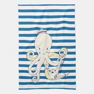 Kraken-und Anker-blaues und weißes Streifen-Tuch Handtücher