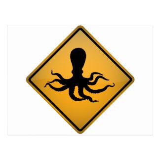 Kraken-Warnzeichen Postkarte