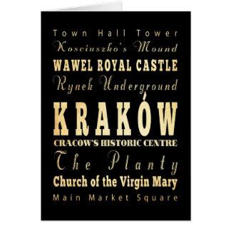 Kraków Stadt der Polen-Typografie-Kunst Karte