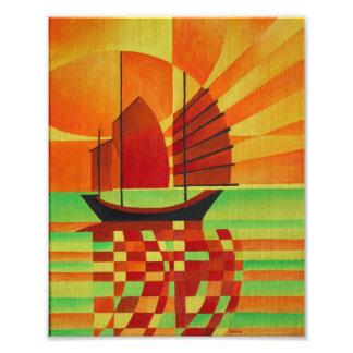 Kram auf dem Meer des grünen Cubist abstrakt Fotodruck