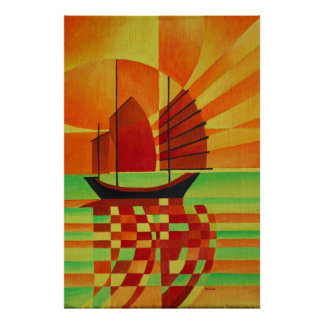 Kram auf dem Meer des grünen Cubist abstrakt Poster