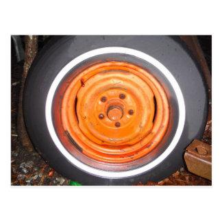 Kram-Yard-Vintages Rad, orange Schwarzweiss Postkarte