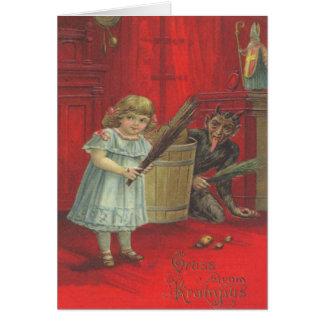 Krampus, das mit Mädchen spielt Karte