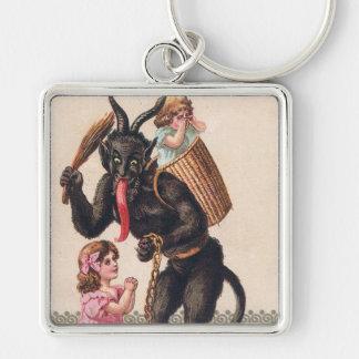 Krampus entführt Mädchen-Vintages Schlüsselanhänger