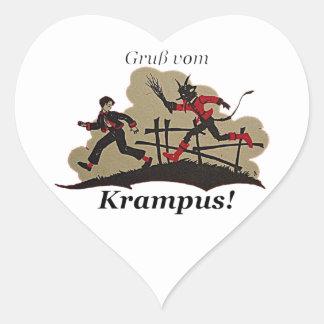 Krampus jagt Kind Herz-Aufkleber
