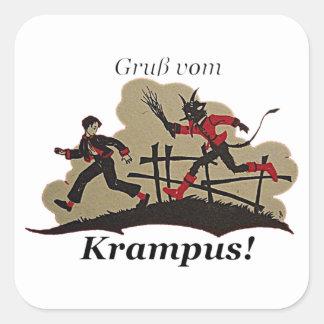Krampus jagt Kind Quadratischer Aufkleber