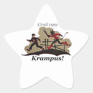 Krampus jagt Kind Stern-Aufkleber