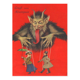 Krampus Puppeteering Erwachsene Postkarte