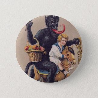 Krampus Schaukelpferd Runder Button 5,7 Cm