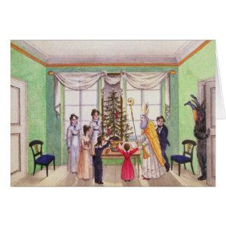 Krampus und Sankt Nikolaus von der Zeitschrift von Karte