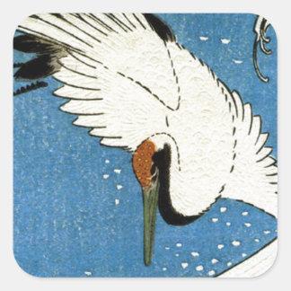 Kran und Welle durch Hiroshige Quadrat-Aufkleber