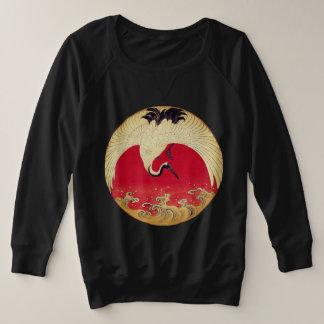 Kran und Wellen-Sweatshirt Große Größe Sweatshirt