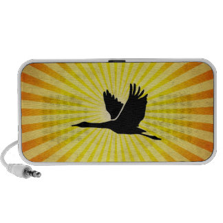 Kran; Vogel-Fliegen; Gelb iPod Speaker