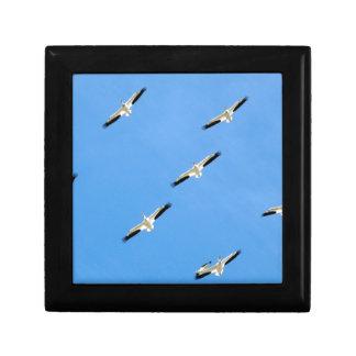 Kräne, die auf blauen Himmel fliegen Geschenkbox