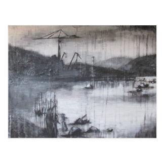 Kräne über dem Fluss Clyde Postkarte