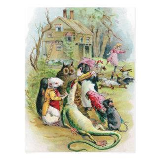 Kranke Eidechse nimmt seine Medizin Postkarte