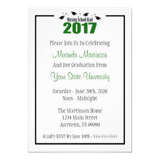 Krankenpflege-SchulAbschluss 2017 laden ein (grüne 12,7 X 17,8 Cm Einladungskarte