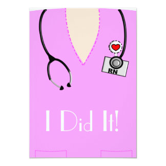 Krankenschwester-Abschluss-Einladungs-Rosa 12,7 X 17,8 Cm Einladungskarte