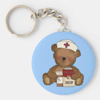 Krankenschwester-Bär Keychain Standard Runder Schlüsselanhänger