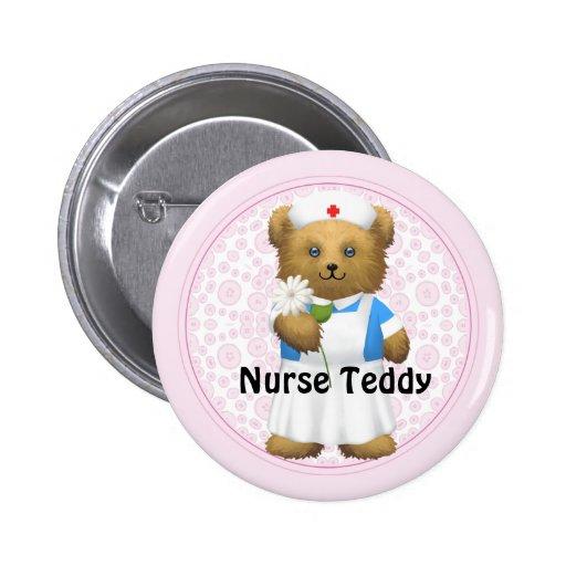 Krankenschwester-Bär - Teddybär Anstecknadelbuttons