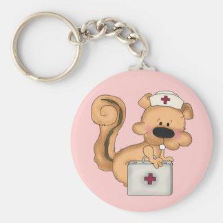 Krankenschwester-Eichhörnchen keychain Standard Runder Schlüsselanhänger